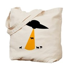 UFO Abducting Cow Tote Bag