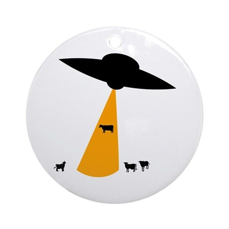UFO Abducting Cow Ornament (Round)