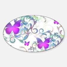 Bright Purple Butterflies Sticker (Oval)