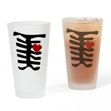 Valentine Skeleton with Heart Drinking Glass