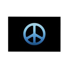 Blue Fade Peace Sign Rectangle Magnet (100 pack)