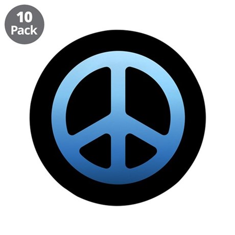 """Blue Fade Peace Sign 3.5"""" Button (10 pack)"""