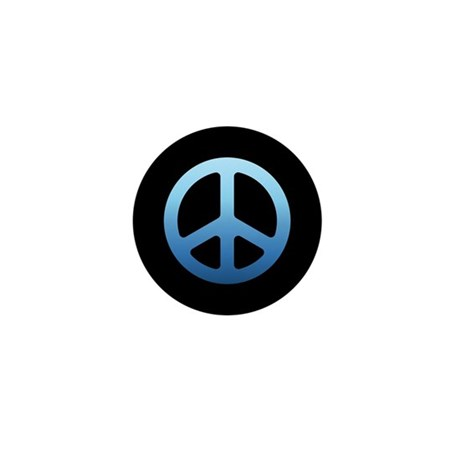Blue Fade Peace Sign Mini Button (100 pack)