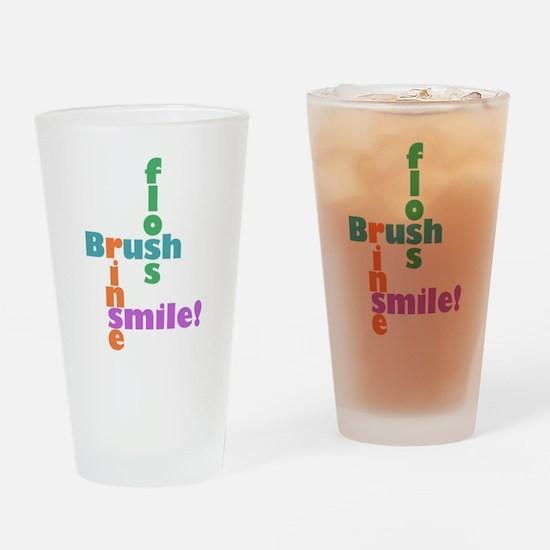 Brush Floss Rinse Smile Drinking Glass