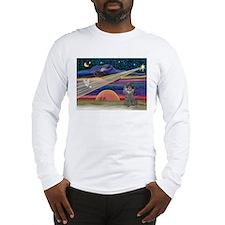 Xmas Star Silver Poodle Long Sleeve T-Shirt