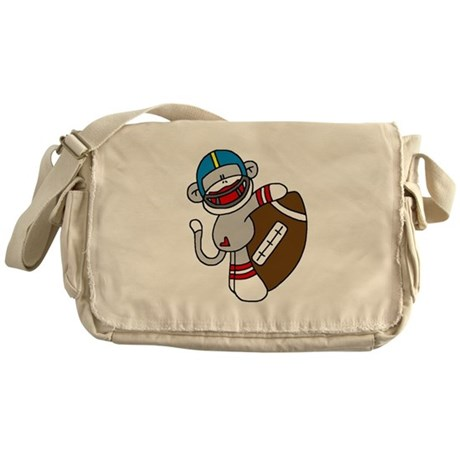 Sock Monkey Football Messenger Bag