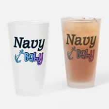 Navy Baby blue anchor Drinking Glass