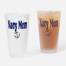 Navy Mom with anchor Drinking Glass