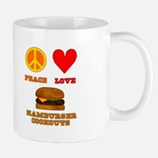 Peace Love Hamburger Cookouts Mug