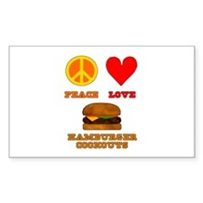 Peace Love Hamburger Cookouts Decal