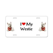 I Love My Westie Aluminum License Plate