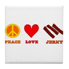 Peace Love Jerky Tile Coaster
