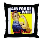 Rosie Proud USAF Wife Throw Pillow