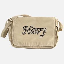 Black and White Navy Messenger Bag