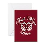 Faith Hope Love Heart Greeting Cards (Pk of 10)