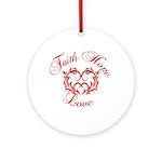 Faith Hope Love Heart Ornament (Round)