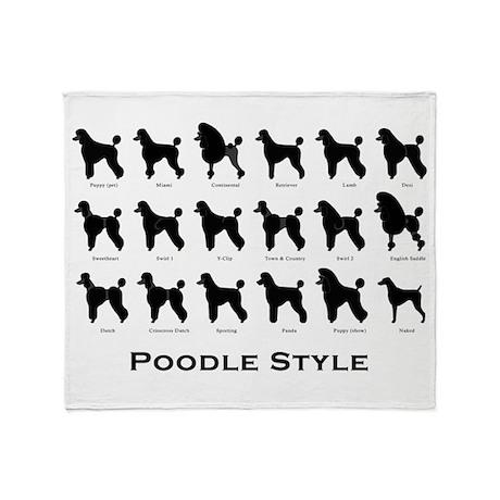 Poodle Styles: Black Throw Blanket