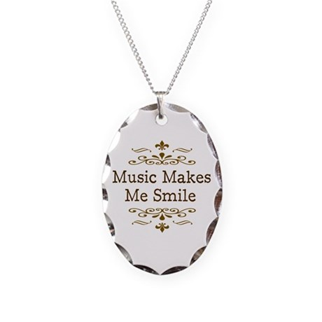 'Music Makes Me Smile' Necklace Oval Charm