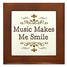 'Music Makes Me Smile' Framed Tile