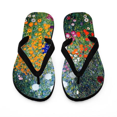 Klimt Flowers Flip Flops