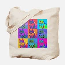 Op Art Siberian Husky Tote Bag