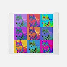 Op Art Siberian Husky Throw Blanket