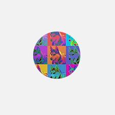 Op Art Siberian Husky Mini Button