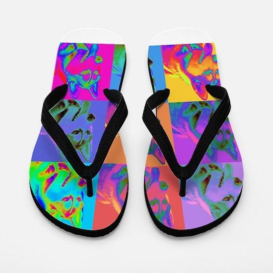 Op Art Siberian Husky Flip Flops