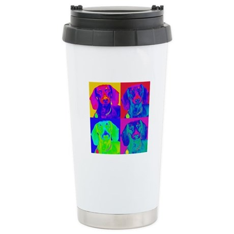 Op Art Doxie Stainless Steel Travel Mug