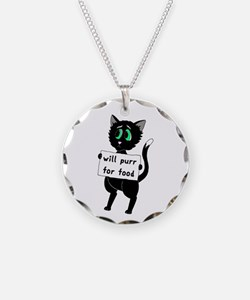 Will Purr For Food Necklace