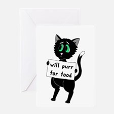 Will Purr For Food Greeting Card