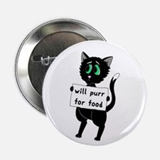 """Will Purr For Food 2.25"""" Button"""