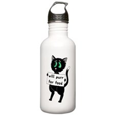 Will Purr For Food Water Bottle