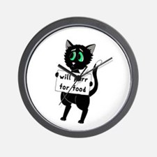 Will Purr For Food Wall Clock
