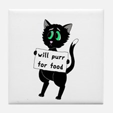 Will Purr For Food Tile Coaster