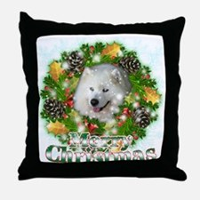 Merry Christmas Samoyed Throw Pillow