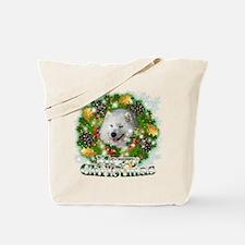 Merry Christmas Samoyed Tote Bag