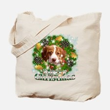 Merry Christmas Brittany Span Tote Bag