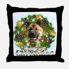 Merry Christmas Akita Throw Pillow