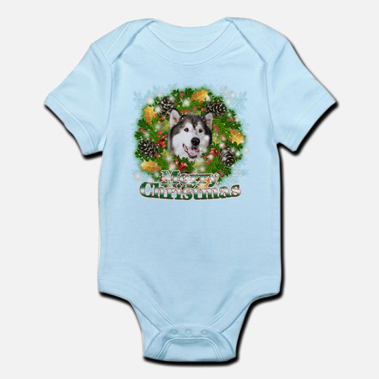 Merry Christmas Alaskan Malam Infant Bodysuit