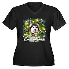Merry Christmas Alaskan Malam Women's Plus Size V-