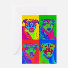 Op Art Pitbull Greeting Card