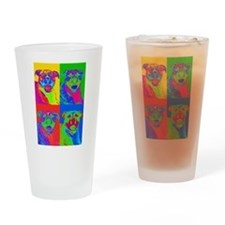 Op Art Pitbull Drinking Glass