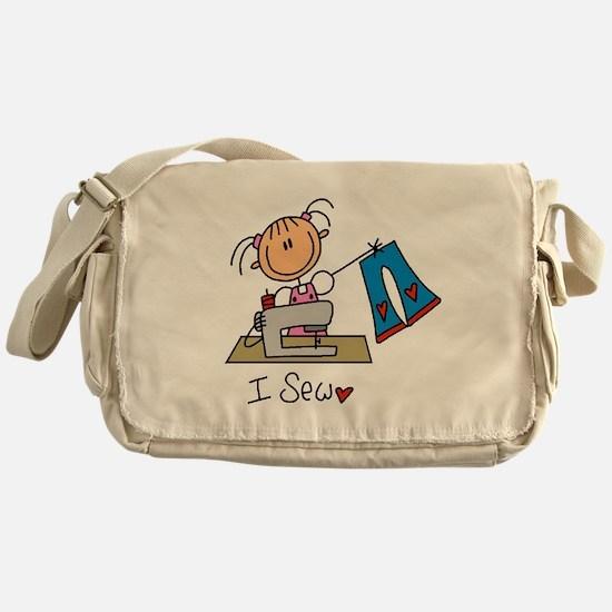 I Sew Stick Figure Messenger Bag
