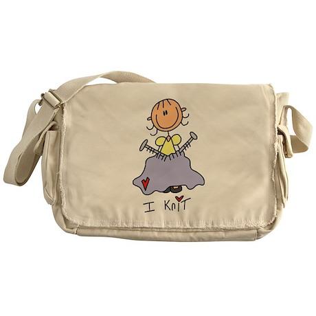 I Knit Stick Figure Messenger Bag