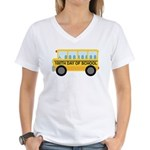 School Bus 100th Day of School Women's V-Neck T-Sh