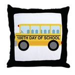 School Bus 100th Day of School Throw Pillow