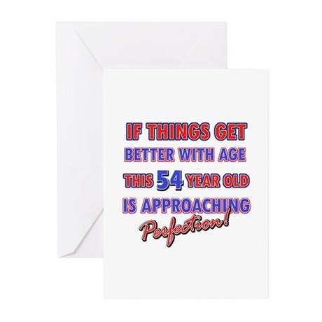 Funny 54th Birthdy designs Greeting Cards (Pk of 1