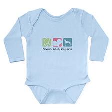 Peace, Love, Whippets Long Sleeve Infant Bodysuit