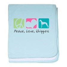 Peace, Love, Whippets baby blanket